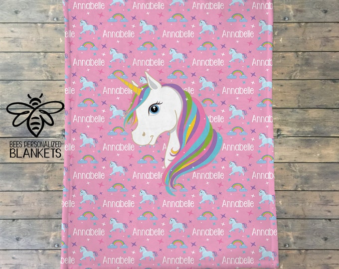 Personalized Blanket, Unicorn Name Blanket, Personalized Unicorn Blanket, Name Blanket, Unicorn Party Gift, Unicorn Theme, BEST GIFT!