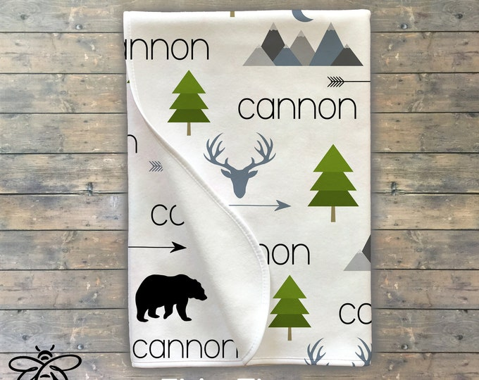 Personalized Baby Blanket, Personalized Swaddle, Baby Name Blanket, Adventure Theme, Mountains, Little Bear, Deer, Arrow, Trees