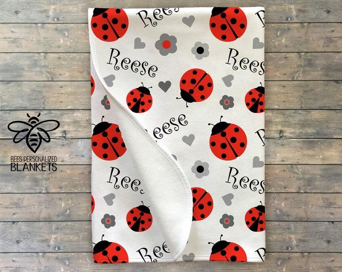 Ladybug Personalized Blanket, Ladybug Swaddle, Baby Name Blanket, Personalize Baby Blanket, Little Bug, Little Lady, BEST Baby Shower GIFT!