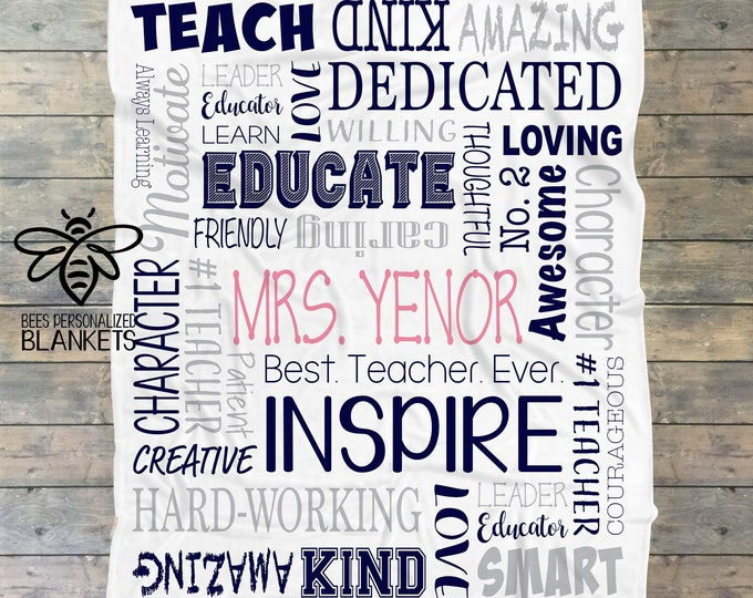 Personalized Teacher Blanket, Personalized Teacher Gift, Teacher Appreciation Gift, Childcare Teacher, Assistant Teacher, Principal Gift