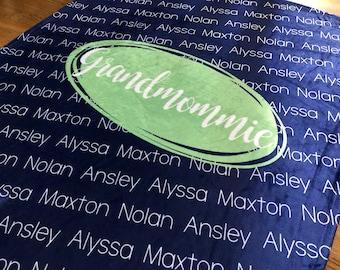 Personalized Family Blanket, Mom Blanket, Grandma Blanket, Dad Blanket, Grandpa, Grandmom, Papa, Nana, Noni, Gigi, Family Name Blanket