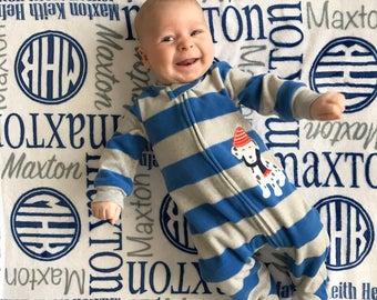 Personalized Baby Blanket, Circle Monogram, Personalize Swaddle, Baby Name Blanket, Baby Girl, Baby Boy, Receiving Blanket, Baby Shower