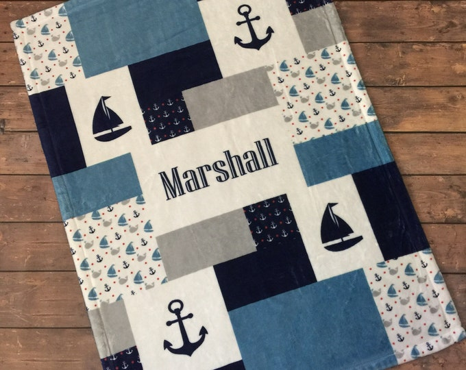 Personalized Baby Blanket, Quilt Print, Nautical Nursery, Whale Nursery, Anchor, Sailboat Custom Quilt Pattern, Velveteen Fleece Blanket