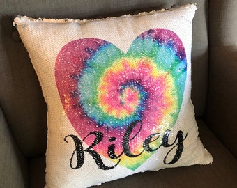 Tie Dye Flip Sequin Pillow Cover, Custom Sequin Flip Pillow Cover, Personalized Sequin Throw Pillow, Pillow Cover Only, Insert Not Included