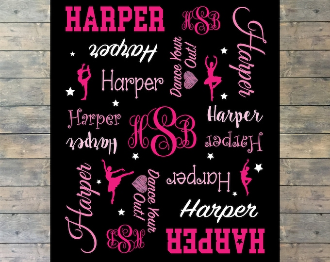 Personalized Dance Blanket, Dance Team Blanket, Monogram Dance, Dancer, Ballerina Personalized Blanket, Perfect Gift