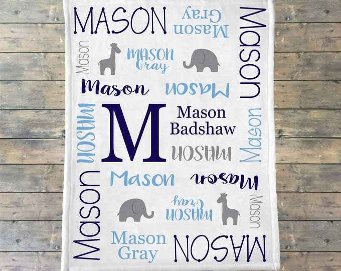 Personalized Baby Blanket, Elephant Baby Blanket, Elephant Nursery, Monogram Blanket, Safari Theme, Giraffe & Elephant Personalized Blanket