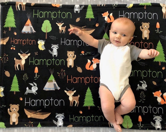 Personalized Baby Blanket, Baby Name Blanket, Woodland Animals, Forest Friends, Canoe, Pine Tree, Lumber Jack, TeePee Blanket