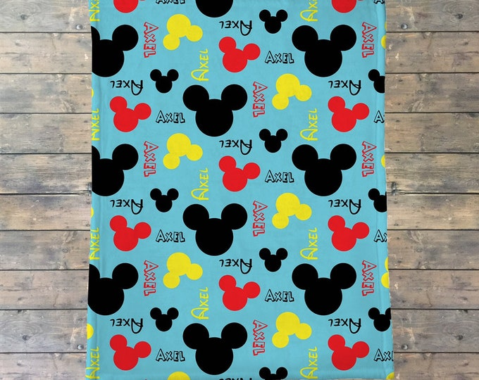 Personalized Baby Blanket, Mickey Mouse, Minnie Mouse, Newborn Swaddle Blanket, Name Baby Blanket, Hospital Blanket, Baby Shower Gift,