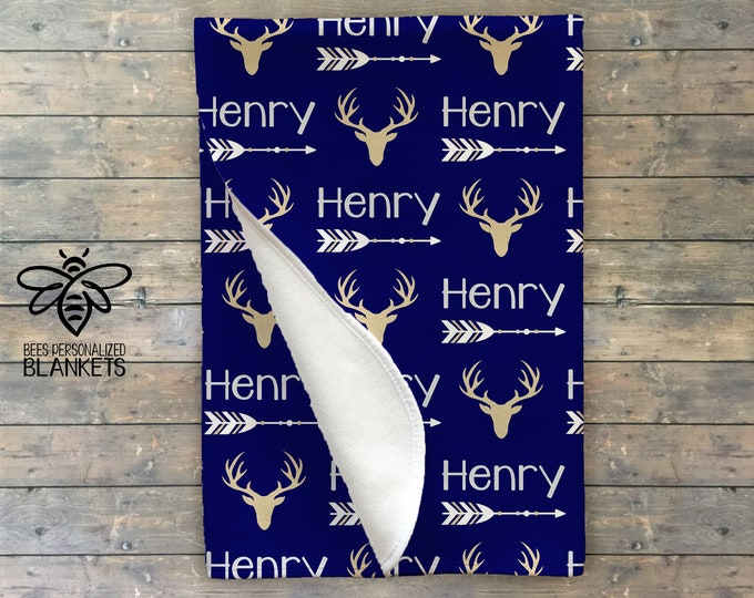 Personalized Baby Blanket, Personalized Swaddle, Deer, Arrow, Baby Name Blanket, Adventure Theme, Woodland, Hunting