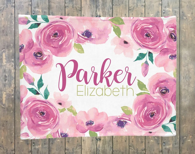 Personalized Baby Blanket, Floral Blanket, Flower Name Blanket, Floral Nursery, Rose, Roses Name Blanket, Baby Girl, Birth Announcement