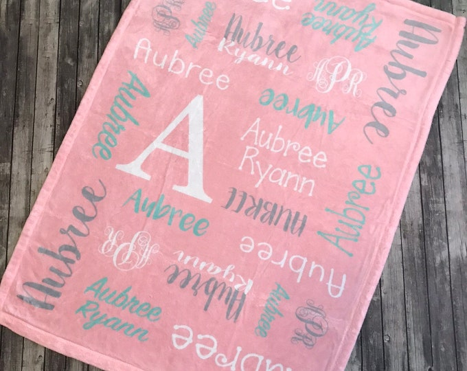 Personalized Baby Blanket, Personalize Swaddle, Baby Name Blanket, Baby Girl Blanket, Baby Boy Blanket, Receiving Blanket, Baby Shower