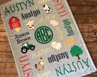 Personalized Baby Blanket, Farm Friends, Barnyard, Tractor, Name Blanket, Baby Girl, Baby Boy, Receiving Blanket, Baby Shower