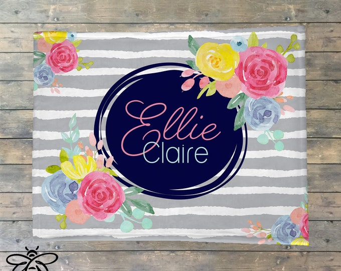 Personalized Blanket, Floral Name Blanket, Personalized Rose Baby Blanket, Flower and Stripes Baby Blanket, Floral Nursery, BEST GIFT!