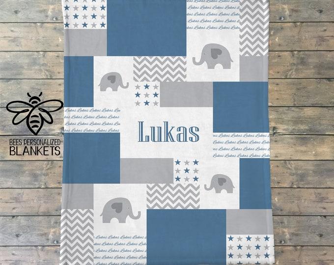 Personalized Baby Blanket, Elephant Nursery, Safari Nursery, Elephant Quilt Print, Fleece Blanket, Monogram Blanket