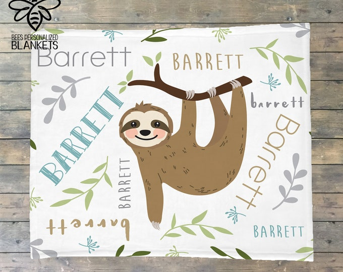 Sloth Personalized Blanket, Sloth Swaddle, Baby Name Blanket, Personalize Baby Blanket, Toddler, Kids, BEST Baby Shower GIFT!