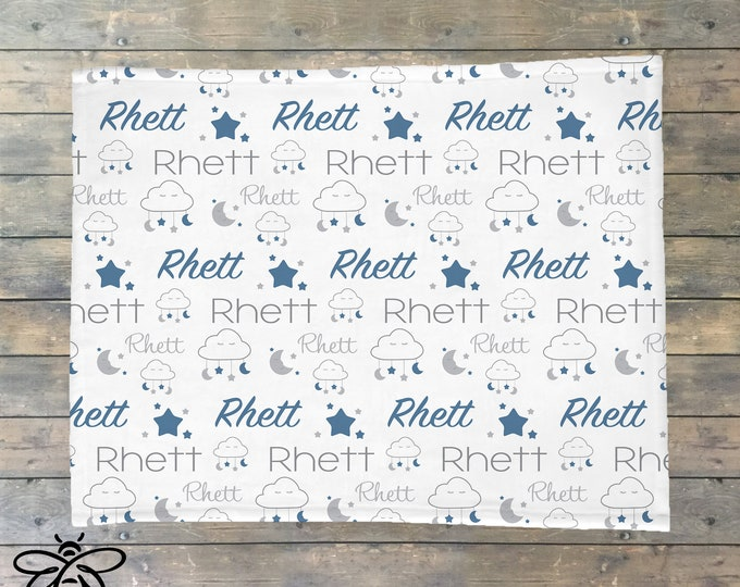 Personalized Baby Blanket, Moon and Stars Name Blanket, Personalized Clouds Blanket, Moon and Stars Theme, I love you to the Moon and Back