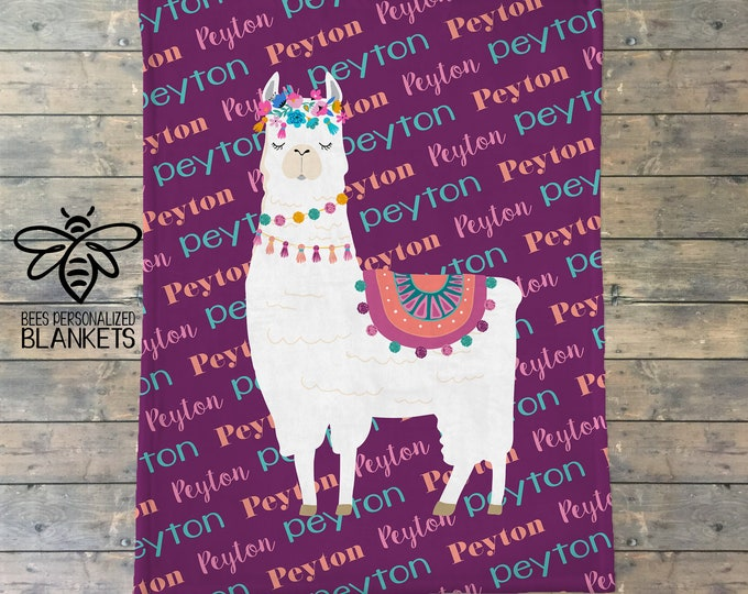 Personalized Blanket, Llama Name Blanket, Personalize Baby Blanket, No Drama Llama, No Prob-Llama, Llama Theme, Llama Party, BEST GIFT!