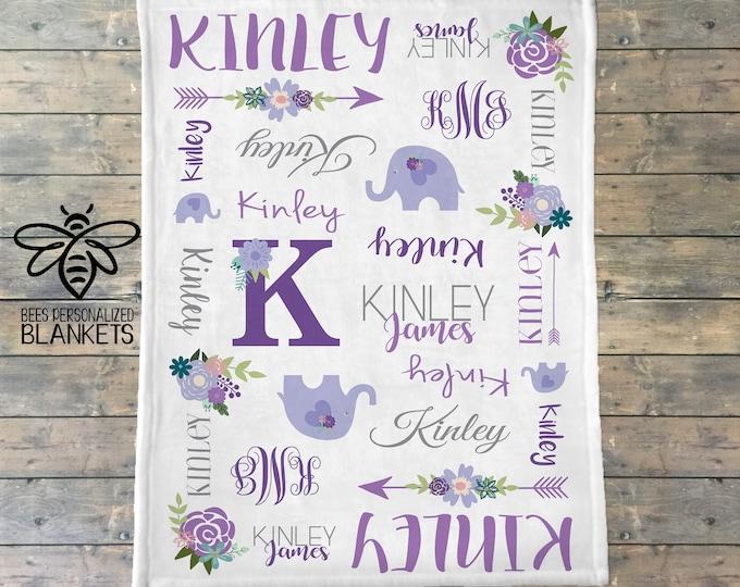 Personalized Baby Blanket, Newborn Swaddle, Elephant Arrow Floral Monogram Blanket, Flower Blanket, Flower Monogram, Baby Girl Blanket