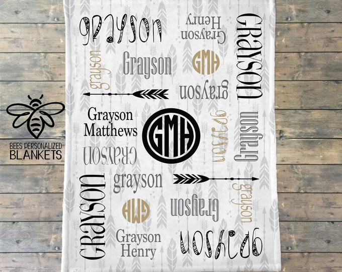 Personalized Baby Blanket, Personalize Swaddle, Name Baby Blanket, Baby Boy, Baby Girl Blanket, Receiving Blanket, Baby Shower