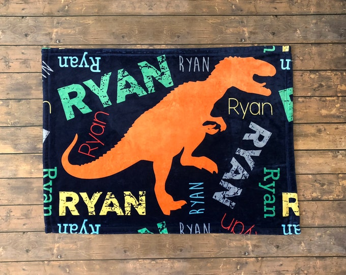 Personalized Baby Blanket, Dinosaur Blanket T-Rex, Dino Bedding, Dinosaur Birthday Party, Dinosaur Name Blanket, Toddler Dinosaur Theme