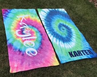 Personalized Beach Towel, Tie Dye Towel, Monogram Towel, Camp Towel,  Swim Towel, Pool Towel, Birthday Gift, Back to School, Nap Mat
