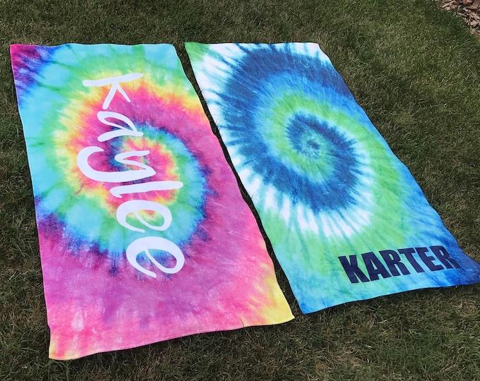 Personalized Tie Dye Beach Towel, Tie Dye Towel, Monogram Towel, Camp Towel,  Swim Towel, Pool Towel, Birthday Gift, Back to School, Nap Mat