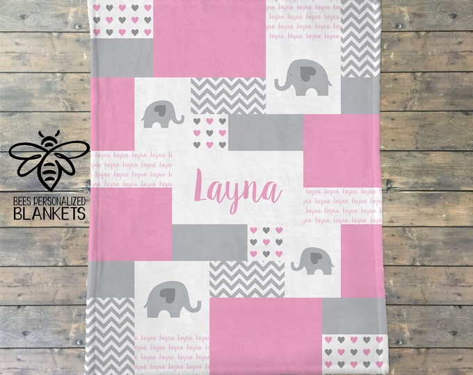 Personalized Baby Blanket, Quilt Print, Elephant Blanket, Elephant Nursery, Safari Nursery, Fleece Blanket, Baby Girl, Baby Boy Name Blanket