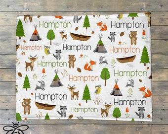 FLASH SALE Personalized Baby Blanket, Baby Name Blanket, Woodland Animals, Forest Friends, Canoe, Pine Tree, Lumber Jack, TeePee Blanket