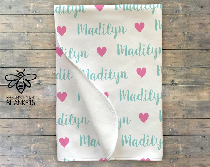 Personalized Baby Blanket Heart, Baby Name Swaddle Blanket, Baby Girl, Baby Boy, Hospital Receiving Blanket, *Hat and Headband Separate*