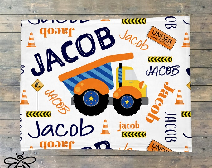 Personalized Baby Blanket, Dump Truck Construction Blanket, Construction Nursery, Baby Name Blanket, Baby Boy