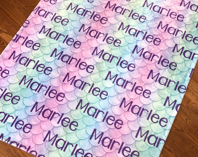 Personalized Mermaid Blanket, Large Print Name Blanket, Personalize Baby Blanket, Mermaid Birthday, Toddler, Kids, Teens, Adult, BEST GIFT!