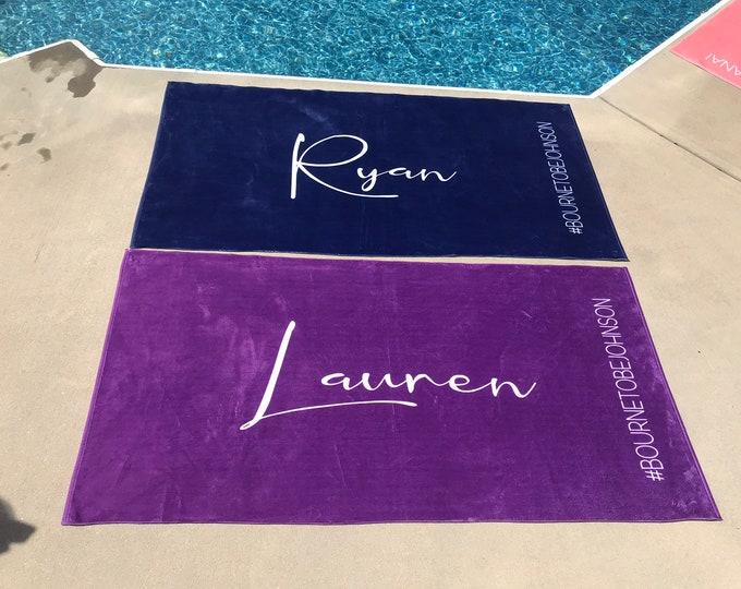 Personalized Beach Towel, Name Towel, Monogram Towel, Spring Break, Bridesmaid Gift, Wedding Hashtag, Girls Weekend, Cruise, Bachelorette