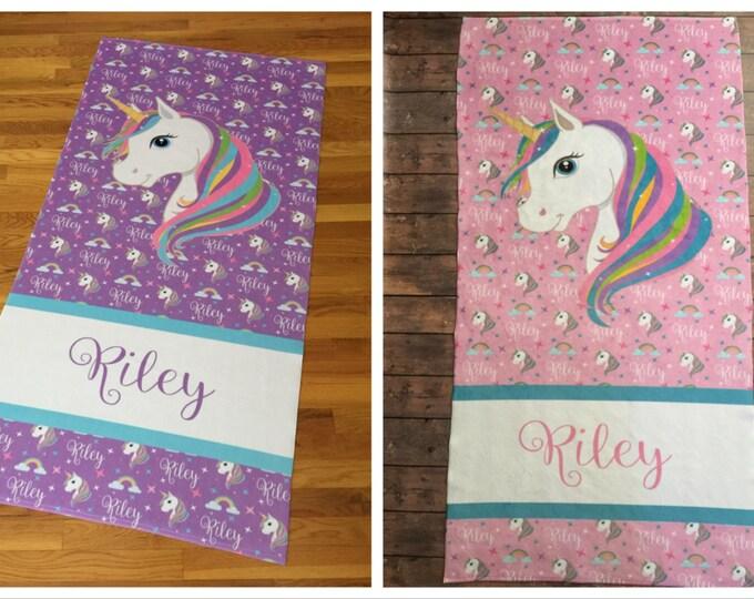 Personalized Unicorn Beach Towel, Monogram Towel, Camp Towel, Swim Towel, Pool Towel, Birthday Gift, Back to School, Nap Mat, Unicorn