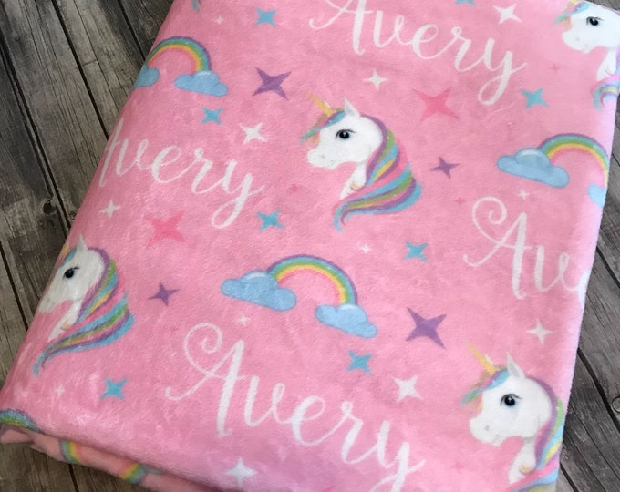 Personalized Baby Blanket, Unicorn Blanket, Unicorn Theme, Unicorn Birthday Gift, Unicorn Bedding, Newborn, Baby Girl, Baby Boy