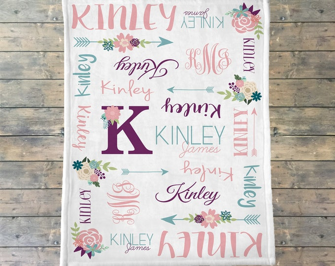 Personalized Baby Blanket, Newborn Swaddle, Floral Monogram Blanket, Floral Rose Nursery, Flower Blanket, Flower Monogram, Baby Girl Blanket