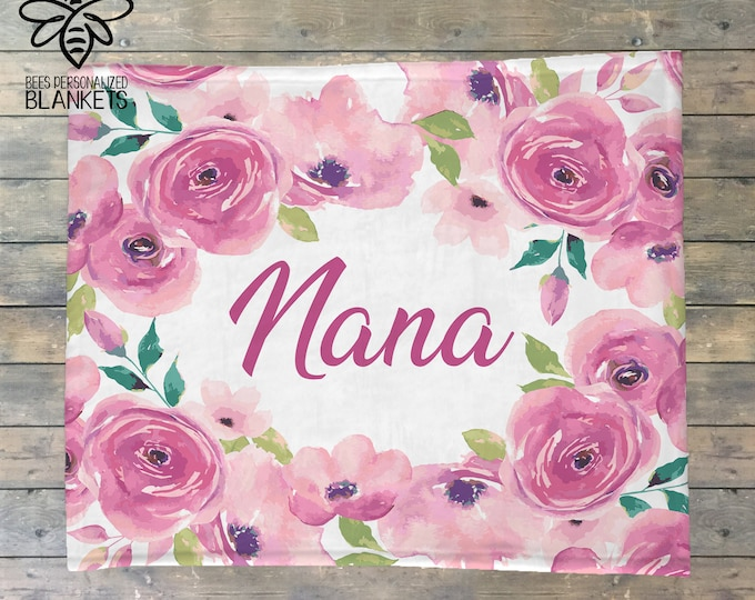 Mother's Day Gift, Personalized Blanket, Floral Blanket, Flower Name Blanket, Mom, Grandmom, Grandmother, Nana, Gigi, Noni, Mimi