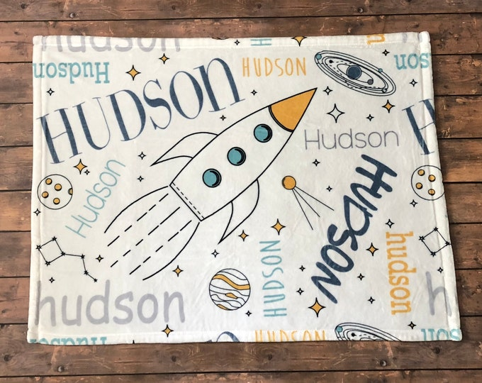 Personalized Baby Blanket, Spaceship, Rocket Ship, Outer Space, Solar System, Baby Name Blanket, Baby Boy, Baby Girl, Velveteen Minky
