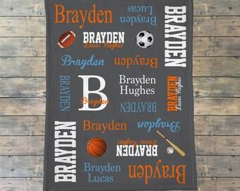 Personalized Baby Blanket, Sports Theme Baby Blanket, Allstar, Baby Name Blanket, Football Basketball Soccer Baseball Blanket, Baby Shower