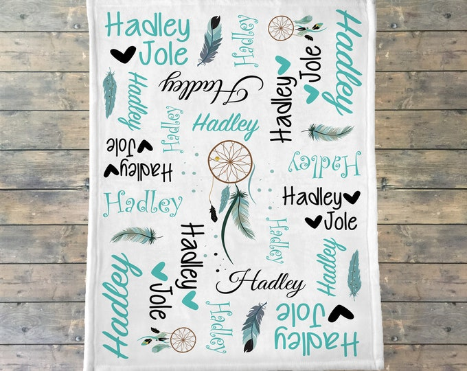 Personalized Baby Blanket, Dream Catcher Name Blanket, Feathers and Tribal Bedding, Boho Chic Nursery, Tribal Girl Monthly Photos