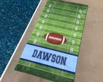 Personalized FOOTBALL Beach Towel, football Towel, Monogram Towel, Camp Towel,  Swim Towel, Pool Towel, Birthday Gift, Back to School, Nap