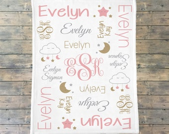 Personalized Baby Blanket, Personalize Swaddle, Pink Stars, Sparkle, Moon and Stars, Cloud Nursery, Baby Name Blanket, Dream Baby Shower