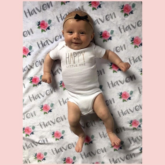 bd3189a56 Personalized Baby Blanket Flower Rose Swaddle Newborn