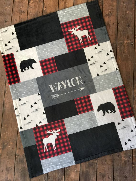 Personalized Baby Blanket Quilt Newborn Swaddle Red And