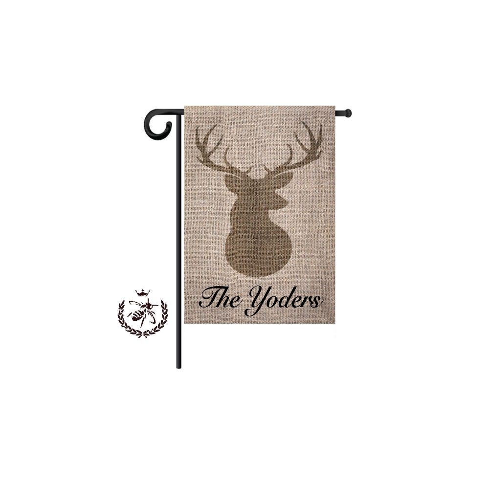 Personalized Garden Flags, Antler Deer Flag, Monogram Flag, Welcome Flag,  House Flag, Yard Flag, Housewarming Gift, Motheru0027s Day