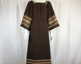 Vtg 70s embroidered guatemalan huipil ethnic boho hippie maxi dress caftan