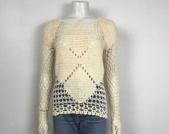 Vtg 70s cream open weave crochet boho hippie sweater small