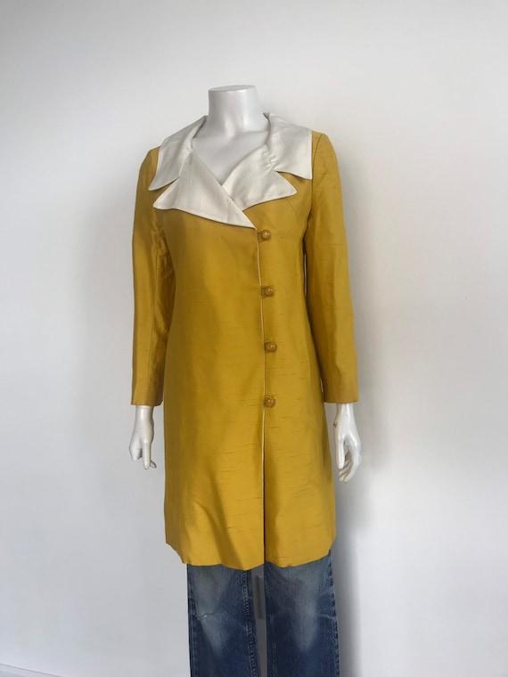 Vtg 60s yellow silk shantung mod dress coat