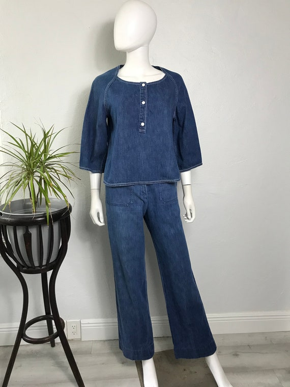 Vtg 70s Geoffrey Beene Beene Bag 2 piece denim out