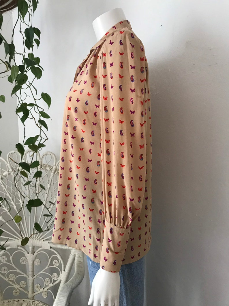Vtg 80s Hanae Mori silk paisley and butterfly print blouse small