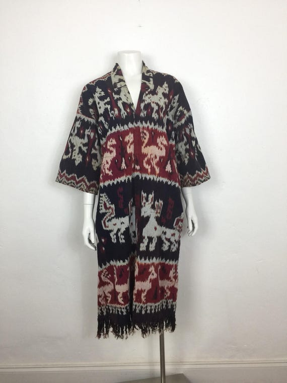 Vtg 70s cotton ikat fringe ethnic caftan dress sma